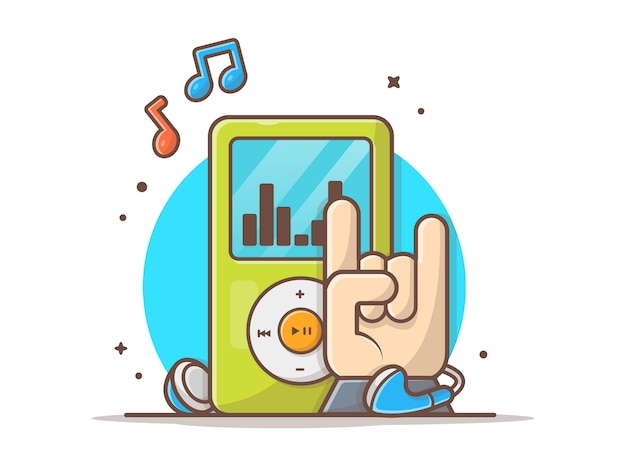 Audio giocatore di digital digital con l'illustrazione di vettore dell'icona delle note di musica e della roccia della mano. bianco di concetto dell'icona di musica e della palestra isolato
