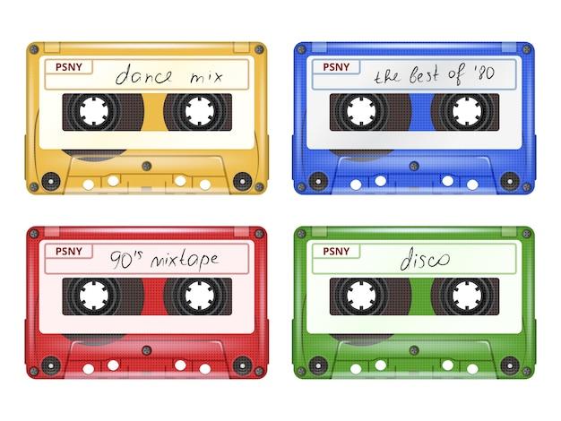Audiocassetta colorata, insieme dell'attrezzatura di musica rock pop retrò mixtape di realistico isolato