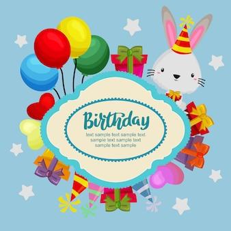 Auguri di buon compleanno con coniglio, scatole regalo e palloncini