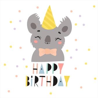 Auguri di buon compleanno con illustrazione di koala in un cappello