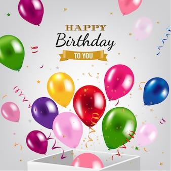 Auguri di buon compleanno con scatola e palloncini
