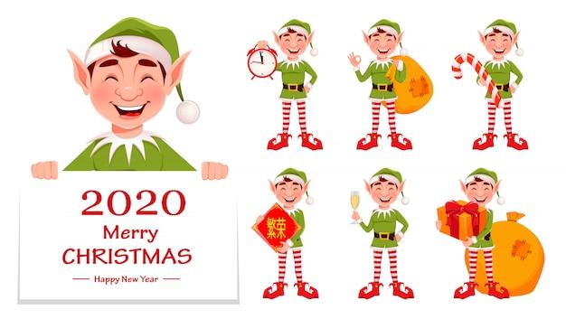 Auguri di buon natale con elfo divertente
