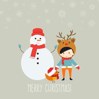 Auguri di buon natale con simpatici personaggi natalizi.