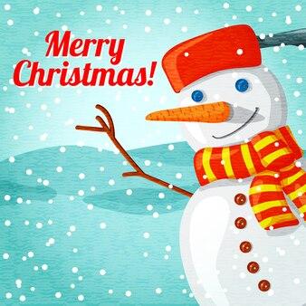 Auguri di buon natale con simpatico pupazzo di neve