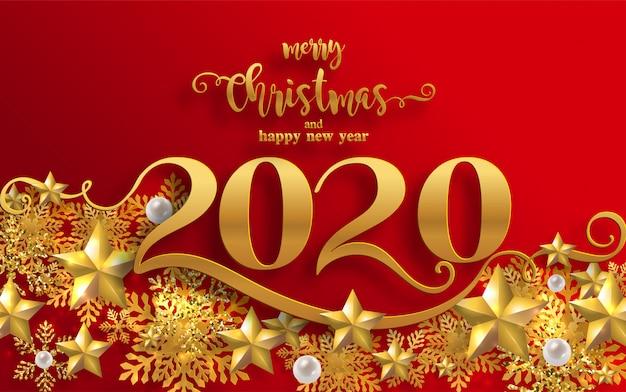 Auguri di buon natale e modelli di felice anno nuovo 2020 con bellissimi disegni di carta tagliati a neve e inverno.