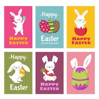 Auguri di buona pasqua con coniglietto di cartone animato e uova di pasqua