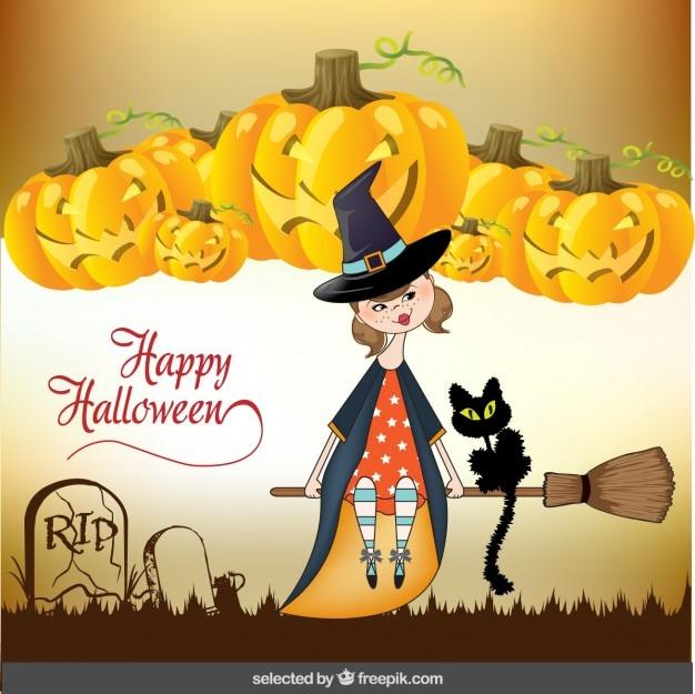 Auguri di halloween con cute strega