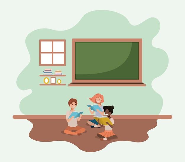 Aula con gli studenti di etnia seduto libro di lettura
