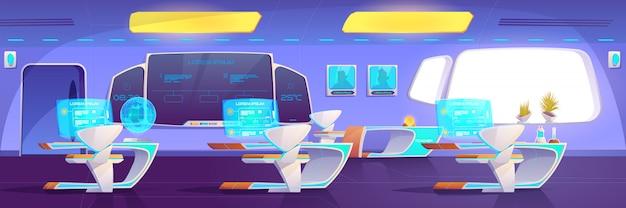 Aula moderna con materiali futuristici per studiare