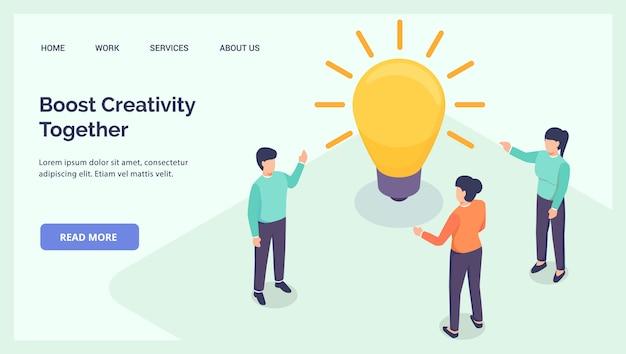 Aumenta la creatività insieme le persone parlano di idee per il sito web di atterraggio banner modello isometrico