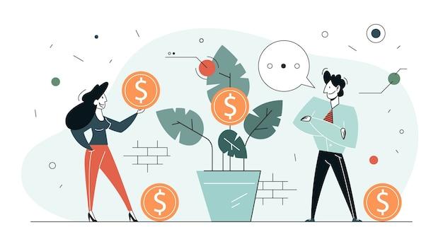 Aumenta le entrate. idea di crescita del capitale e finanza