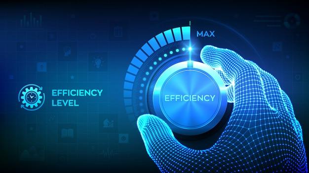 Aumento del livello di efficienza. mano wireframe ruotando una manopola del test di efficienza nella posizione massima.