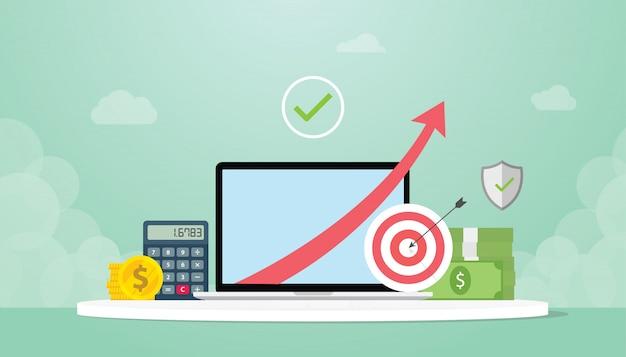 Aumento del reddito con l'aumento della freccia verso l'alto con obiettivi e calcolatrice e denaro contante in moneta d'oro