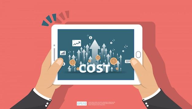 Aumento della freccia per il concetto di riduzione dei costi