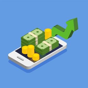 Aumento o aumento del dollaro. smartphone con denaro contante e monete in stile isometrico alla moda. pila o mucchio di soldi. illustrazione isolata.