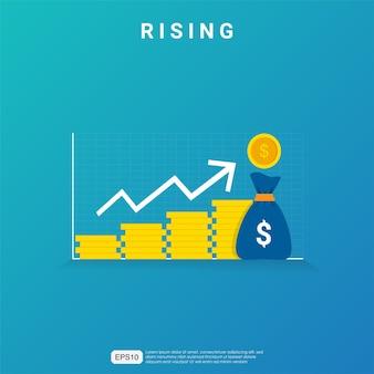 Aumento o aumento del tasso di salario del reddito. reddito grafico del margine di crescita del grafico di affari