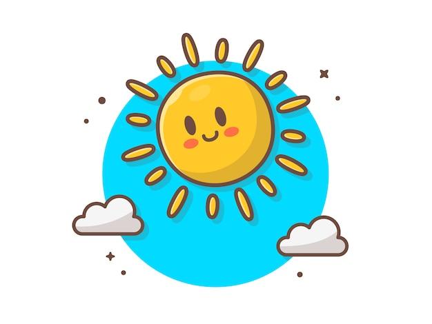 Aumento sveglio del sole con l'illustrazione dell'icona delle nuvole