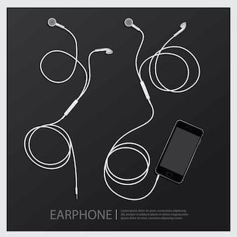 Auricolari di musica con illustrazione vettoriale telefono