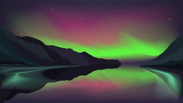 Aurora boreale che emette luce sopra un lago della montagna
