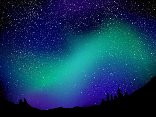 Aurora boreale e stelle