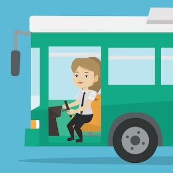 Autista di autobus caucasico seduto al volante.