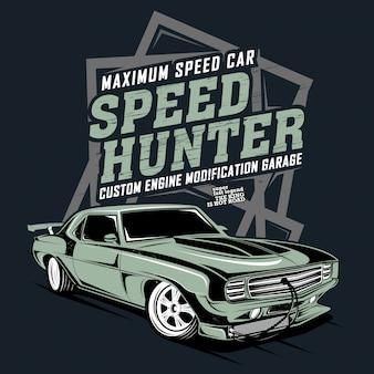 Auto a massima velocità, modifica personalizzata del motore, illustrazione di una classica auto da corsa