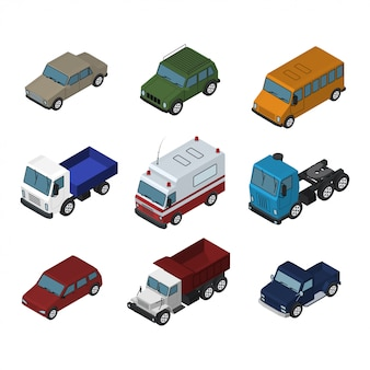 Auto, camion e autobus isometrici