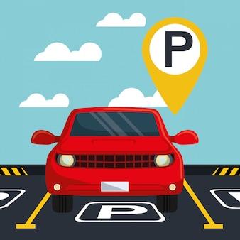 Auto con segnale di parcheggio