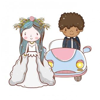 Auto coppia matrimonio simpatico cartone animato