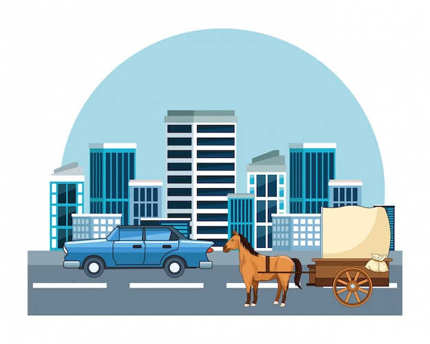 Auto d'epoca e veicoli per carrozze trainate da cavalli