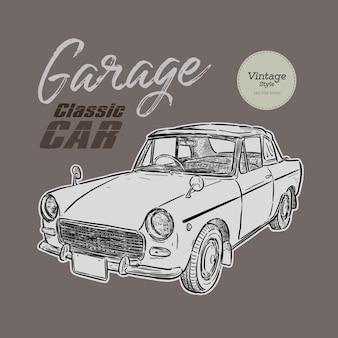 Auto d'epoca, stile vintage. mano disegnare schizzo vettoriale.