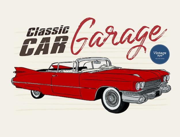 Auto d'epoca, stile vintage. vettore di schizzo di tiraggio della mano.