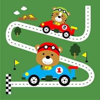 Auto da corsa, divertente cartone animato animale, illustrazione vettoriale
