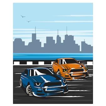 Auto da corsa per strada