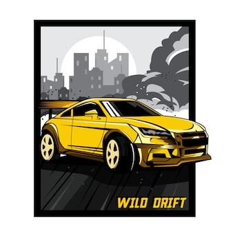 Auto drift selvaggia di colore giallo