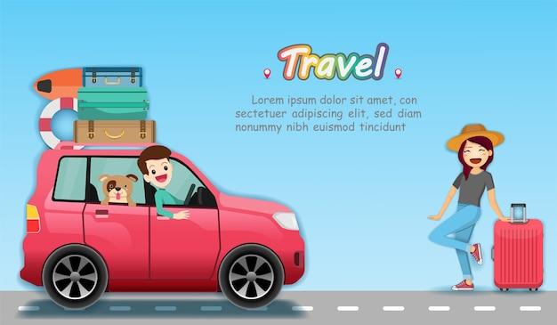 Auto e viaggiatore viaggiano per il mondo.