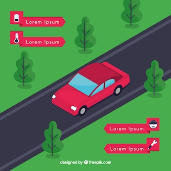 Auto futuristica autonoma con design piatto