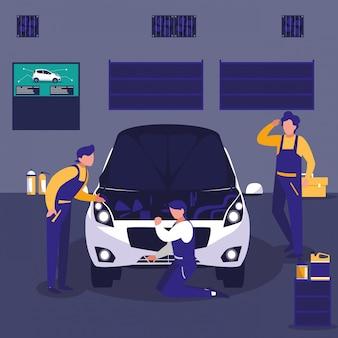 Auto in officina di manutenzione con team di meccanici