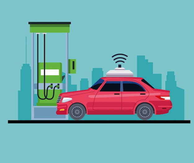 Auto in un'icona della stazione di servizio