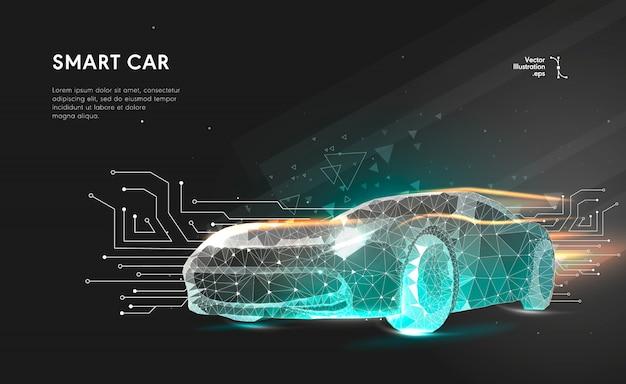 Auto intelligente o intelligente. auto sportiva con linea poligonale. spazio poligonale low poly con punti e linee di collegamento.