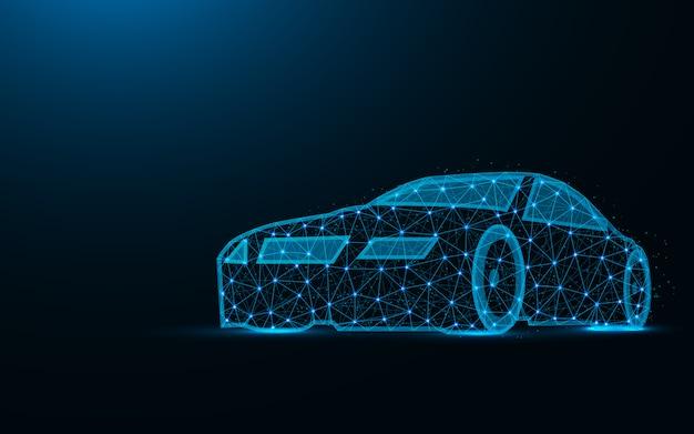 Auto low poly design, trasporto immagine geometrica astratta, guida wireframe maglia poligonale illustrazione vettoriale fatta da punti e linee