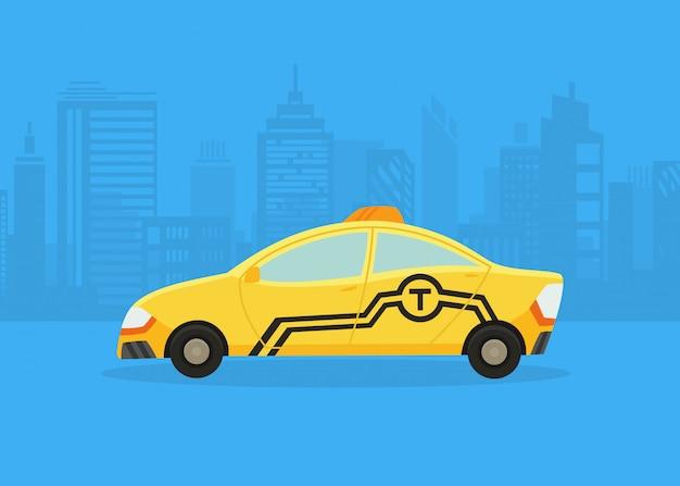 Auto sul panorama della città. servizio taxi. taxi giallo. applicazione di taxi, silhouette della città con grattacieli e torri.
