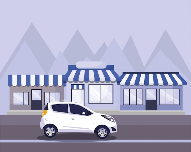 Auto sulla strada di fronte ai negozi