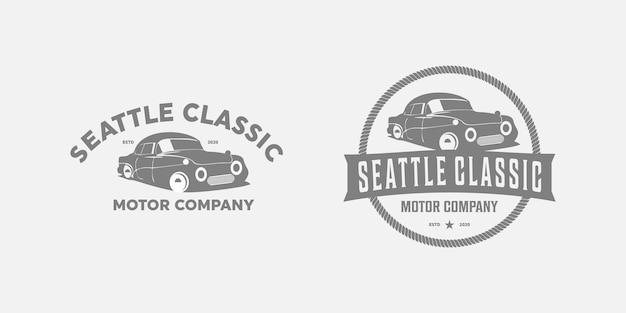 Auto vecchio vintage logo design premium