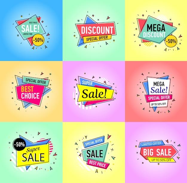 Autoadesivi di vendita isolati su sfondo bianco