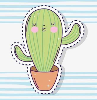 Autoadesivo della pianta del cactus di kawaii dentro il vaso di fiore