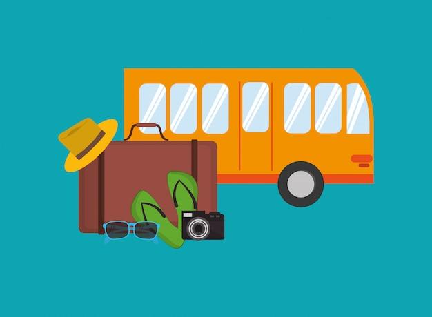 Autobus urbano con icona di articoli correlati in viaggio