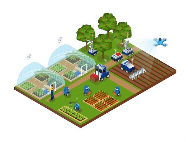 Automazione dell'agricoltura, fattoria intelligente, robot, droni