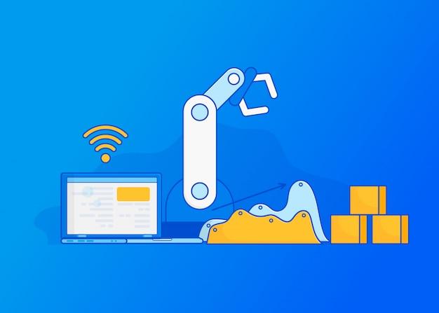 Automazione di fabbrica isometrica. industria 4.0