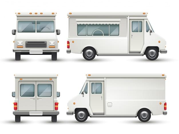 Automobile bianca dell'alimento in bianco, camion commerciale isolato